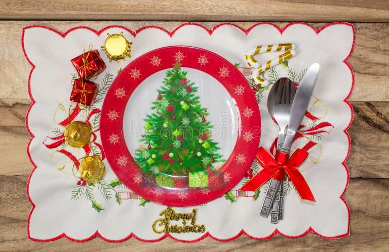 Christmas table place setting. Festive background. stock photo