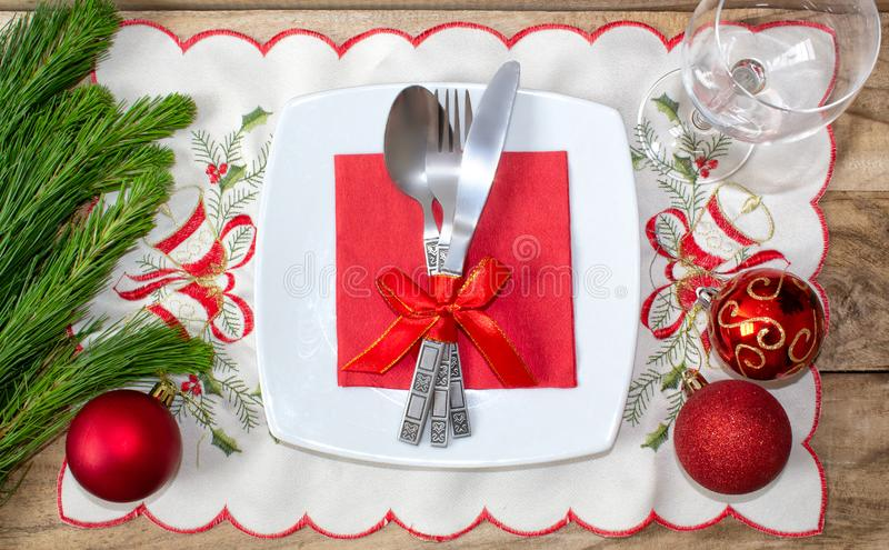 Christmas table place setting. Festive background. royalty free stock images
