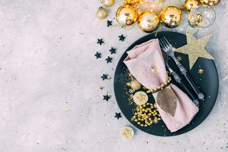 Christmas table place setting. Flat lay, copy space Flat lay, copy space royalty free stock images