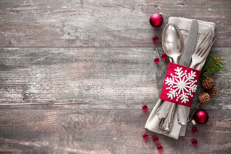 Christmas table place setting. Holidays background stock images