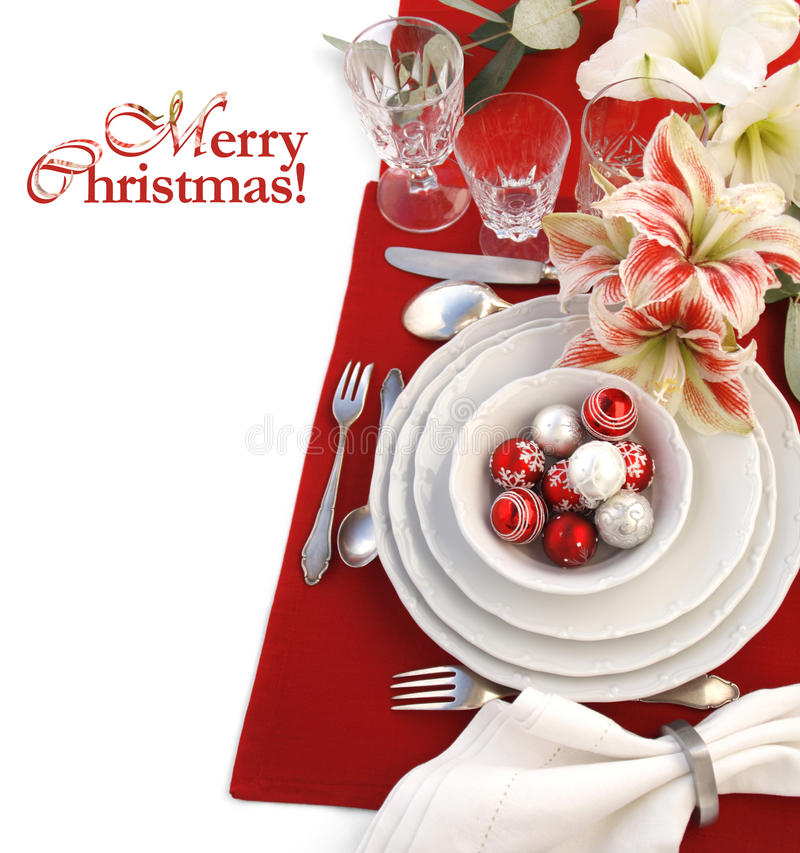 Download Christmas table setting stock photo. Image of menu, dishes - 22333616