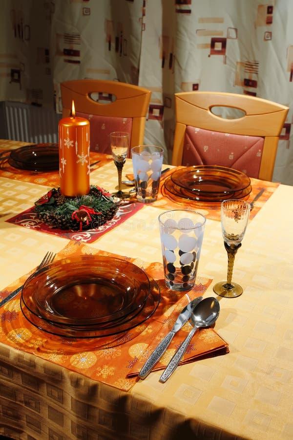 Christmas table setting royalty free stock image