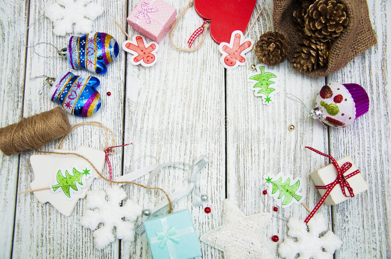 Christmas table setting. Christmas background with rustic Christmas decorations on wooden table.Viev from above stock photography