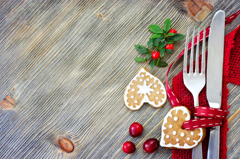 Christmas table setting with christmas decorations copy space royalty free stock photo