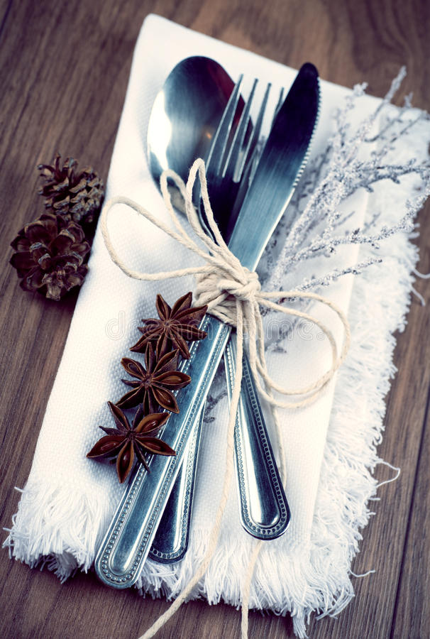 Christmas table setting, christmas menu concept on wooden table with copy space stock image