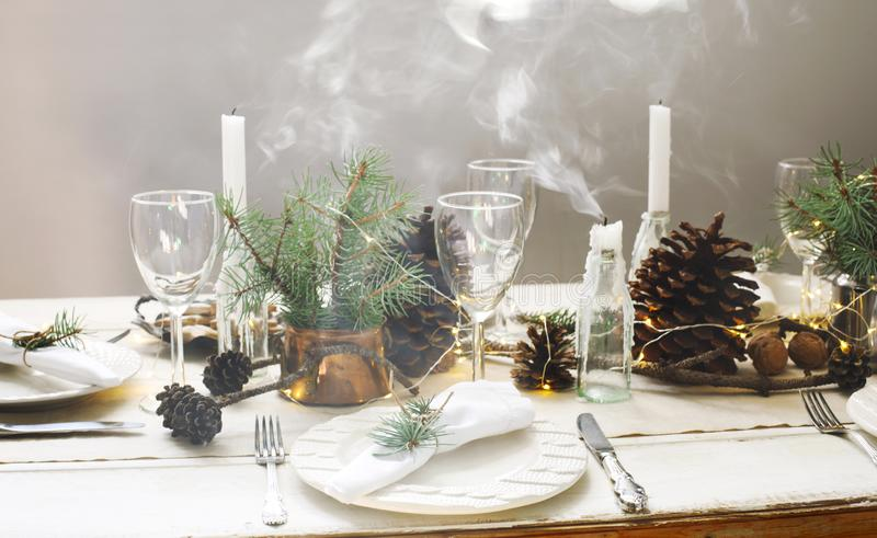 Christmas table setting. royalty free stock images