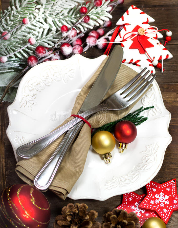 Christmas table setting. Festive table setting with Christmas decorations stock photo