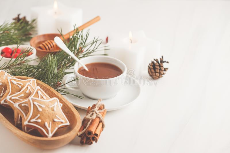 Christmas table setting with ginger cookies and cocoa. Christmas royalty free stock image