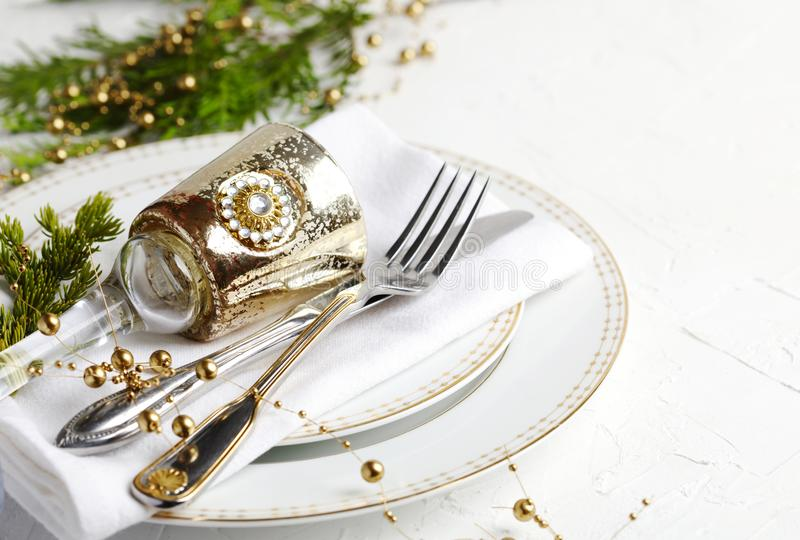 Christmas table setting. Holiday background royalty free stock photos