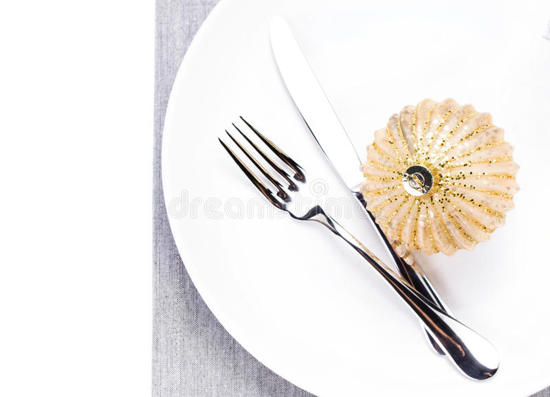 Download Christmas Table Setting Place With Festive Ornaments On White Pl Stock Photo - Image: 35660726