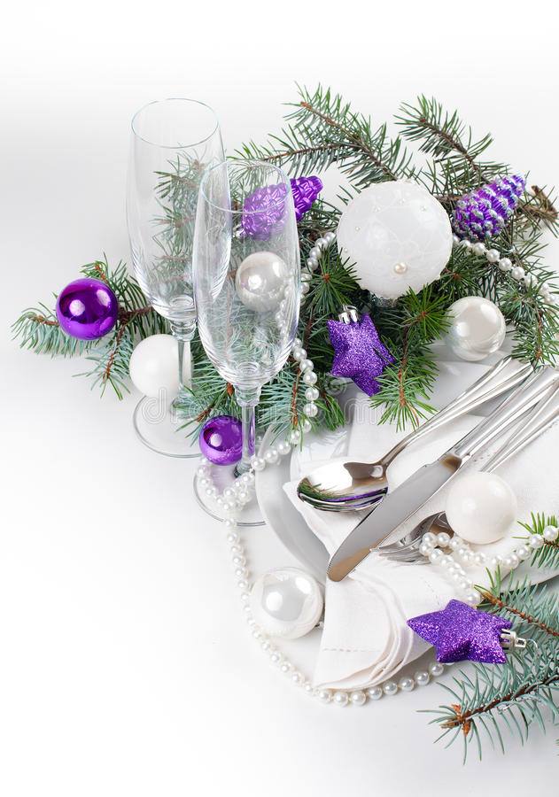 Download Christmas Table Setting, In Purple Tones Stock Photo - Image: 34306496