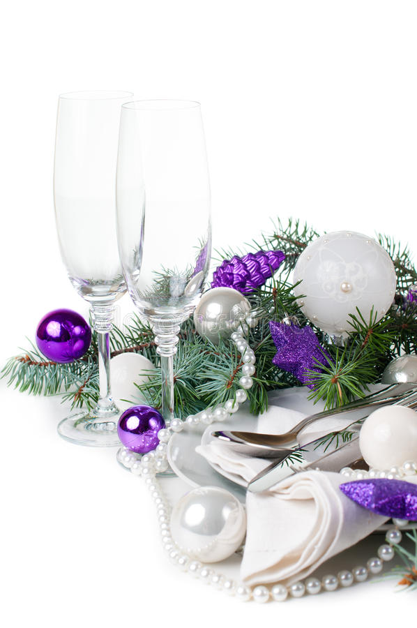 Download Christmas Table Setting, In Purple Tones Stock Photo - Image: 34306846
