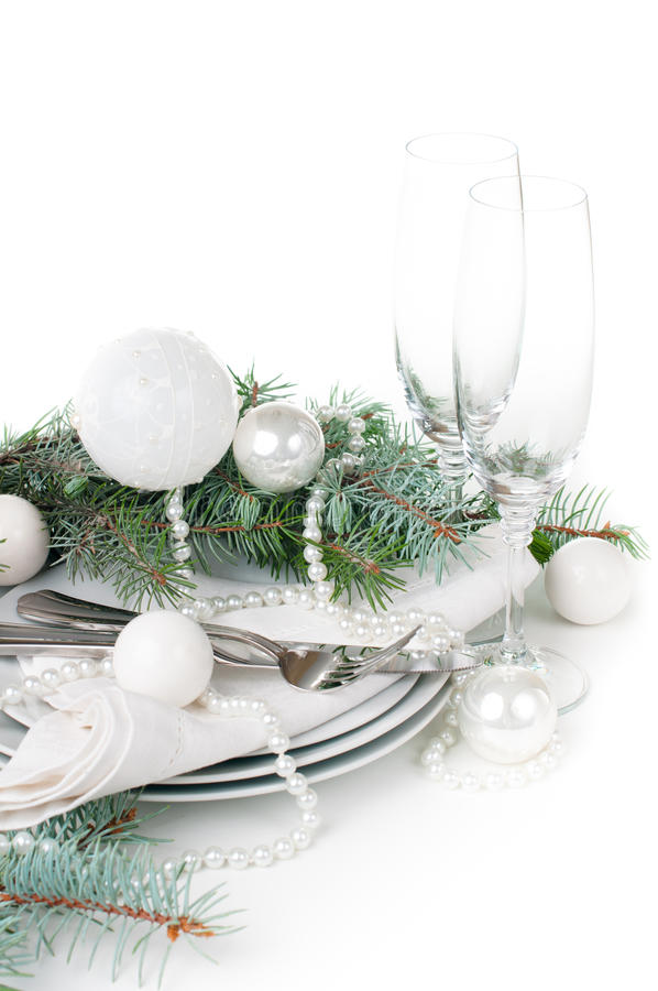 Christmas Table Setting, Table Decoration In White Stock Photos