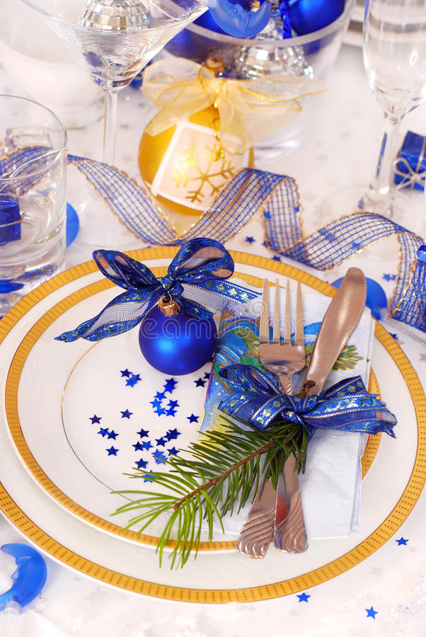 Christmas Table Setting In White And Blue Colors Stock