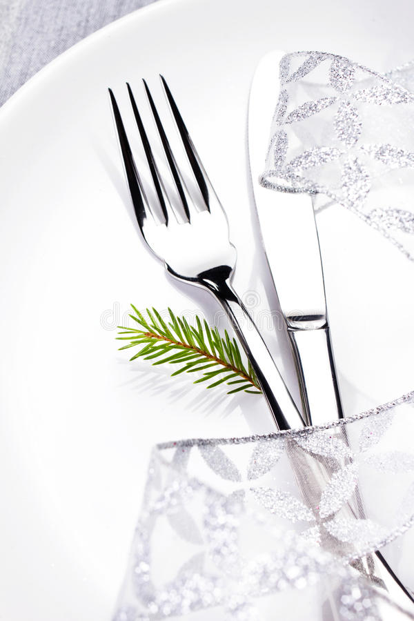 Download Christmas Table Setting In White And Silver With Christmas Decor Stock Photo - Image: 35409062