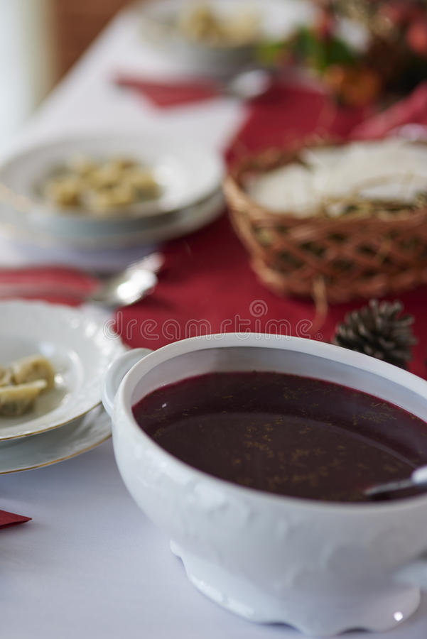 Christmas table with traditional Polish meals royalty free stock photo