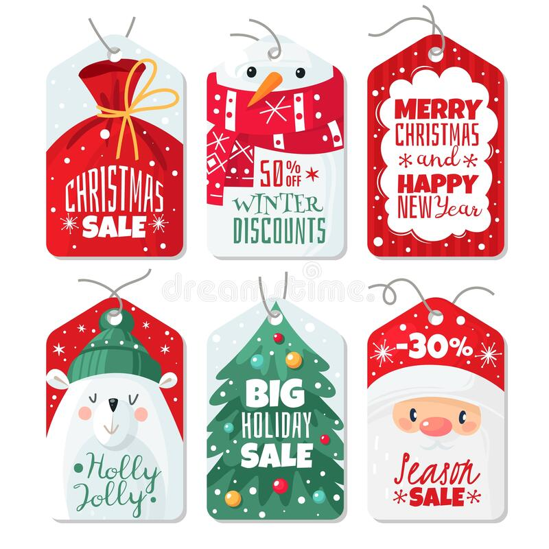 Free Christmas Tag. Decorative Gift Labels With Santa, Polar Bear And Snowman, Tags With Lettering Winter Festive Xmas Offer Royalty Free Stock Images - 191970199