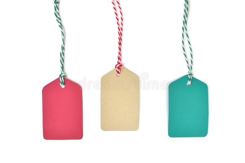 Christmas tag paper cut on white background royalty free stock photography