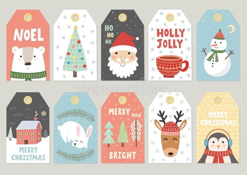 Christmas tags cute collection royalty free illustration