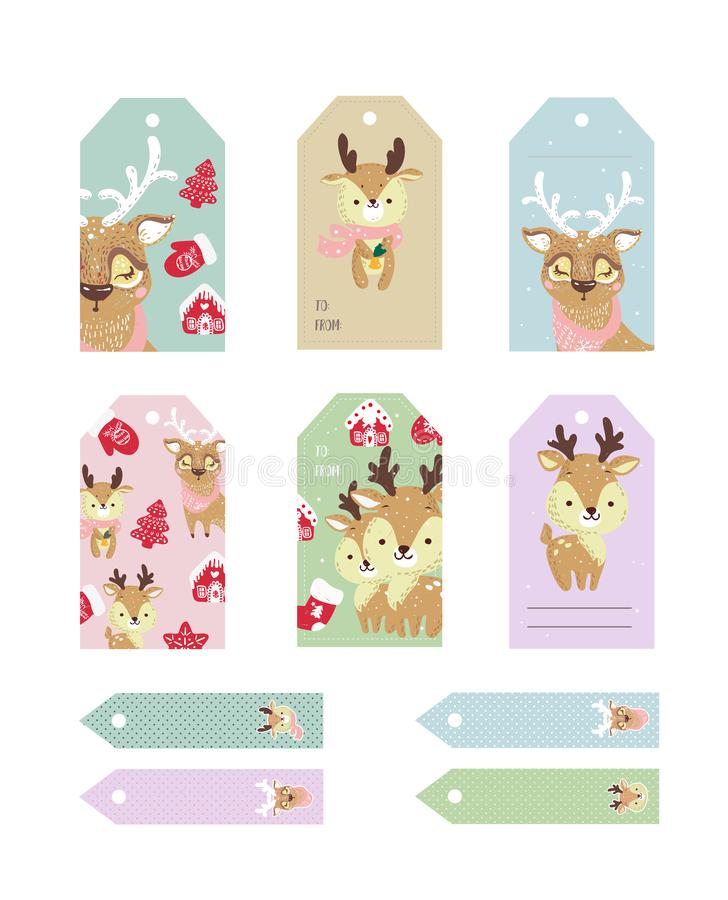Christmas tags cute collection. Labels with funny deer with hat and scarf. stock illustration