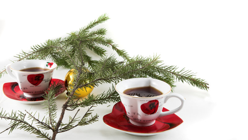 Christmas tea-drinking royalty free stock photo