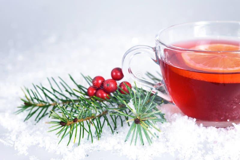 Christmas tea with lemon stock image