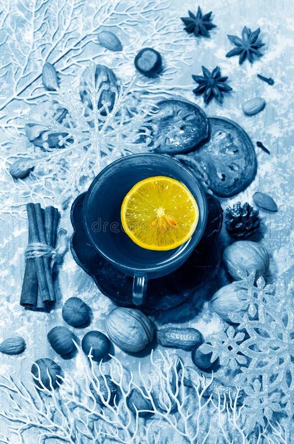 Christmas tea and lemon royalty free stock photo