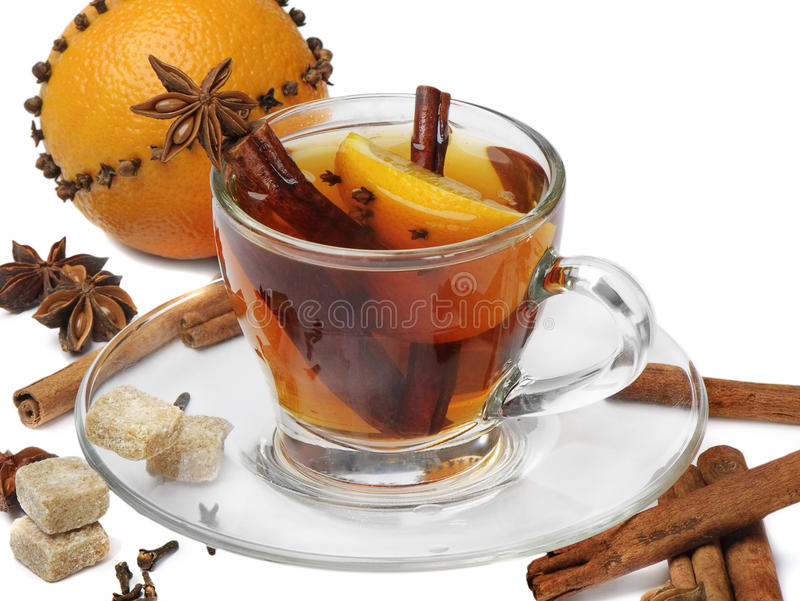 Christmas tea and orange royalty free stock photos