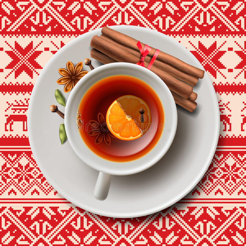Christmas tea with spices, aromatic mulled wine. Cup of tea, vector illustration vector illustration