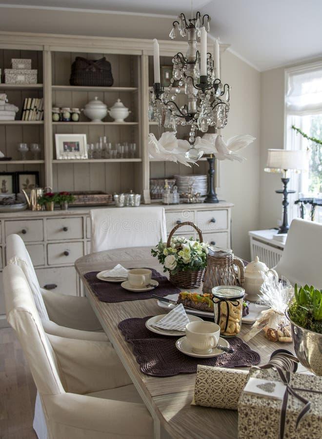 Christmas tea table royalty free stock image