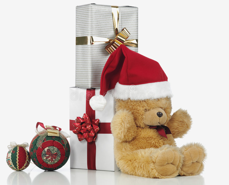 Christmas teddy bear royalty free stock image