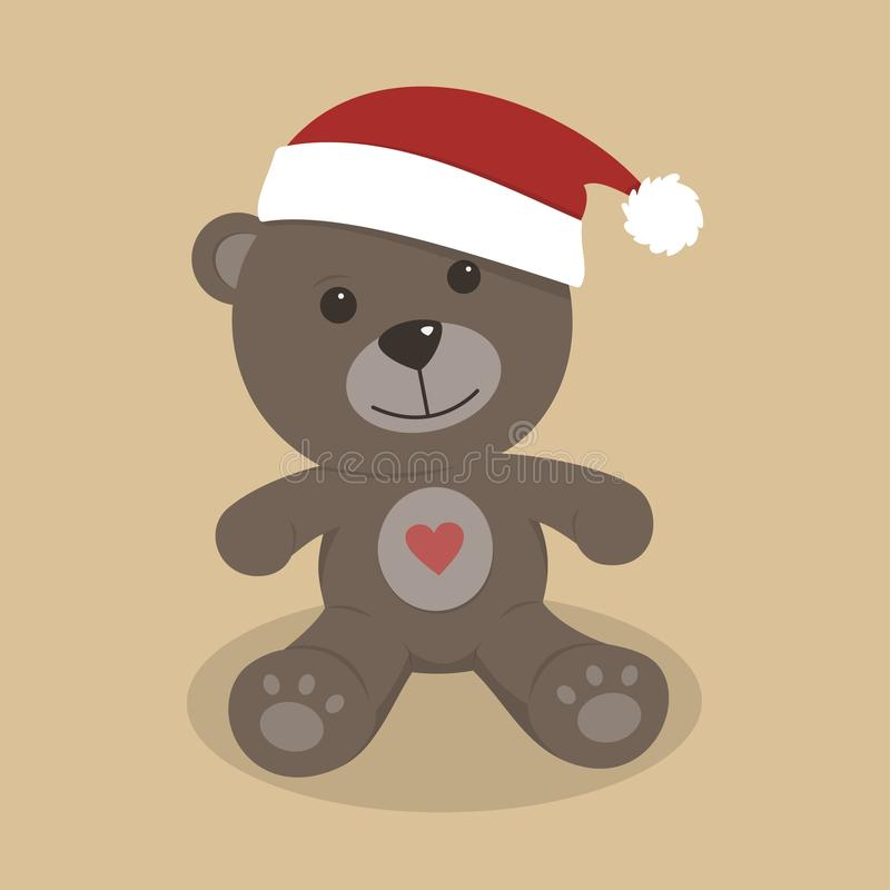 Christmas teddy bear on colored background stock illustration