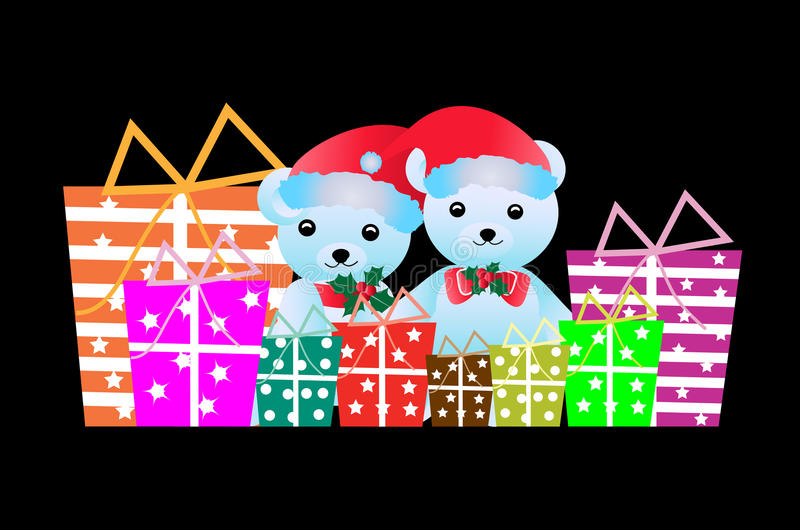 Christmas teddy bear with gifts stock illustration