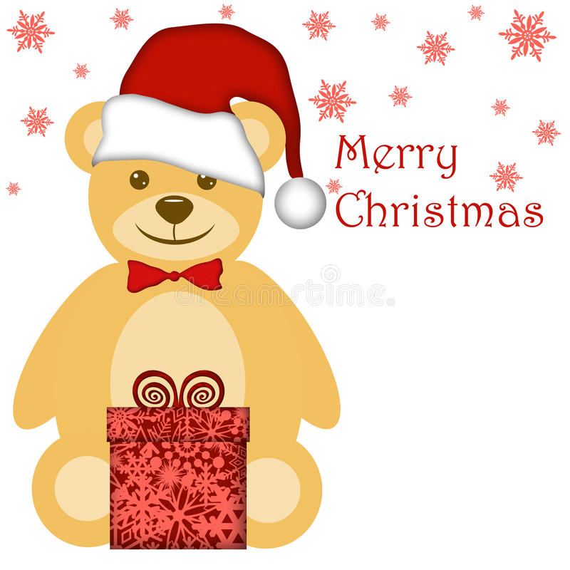 Christmas Teddy Bear with Red Santa Hat stock illustration