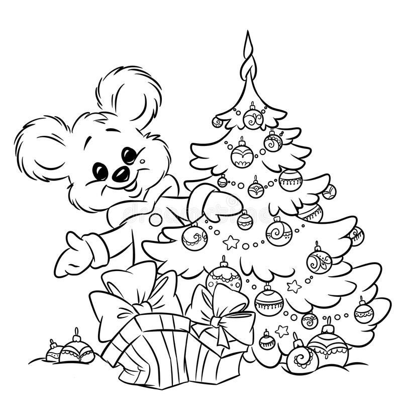 Download Christmas  Teddy-bear Tree Ornaments  Gift Colorin Stock Illustration - Image: 33971939