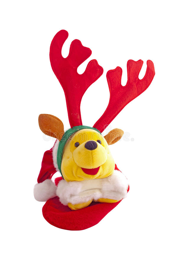 Christmas Teddy Bear Wearing Reindeer Antlers. Christmas Teddy Bear Wearing Red Reindeer Antlers stock image
