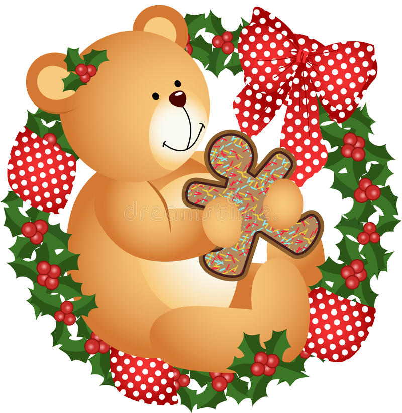Free Christmas Teddy Bear With Cookie In Crown Royalty Free Stock Photography - 33532957