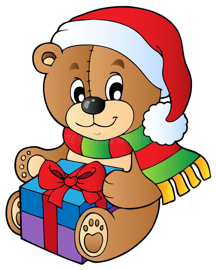Free Christmas Teddy Bear With Gift Royalty Free Stock Images - 21722259
