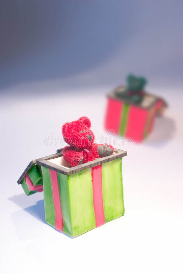 Christmas Teddy Bears In Gift Boxes Stock Images