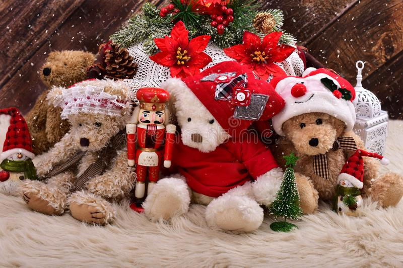 Christmas teddy bears still life on wooden background stock images