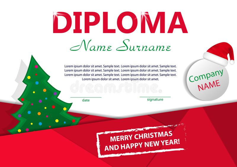 Christmas Template Diploma Or Certificate New Year Reward With