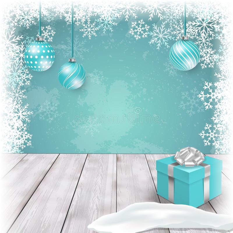 Christmas template with ornaments and gift box on table. Vector royalty free stock photos