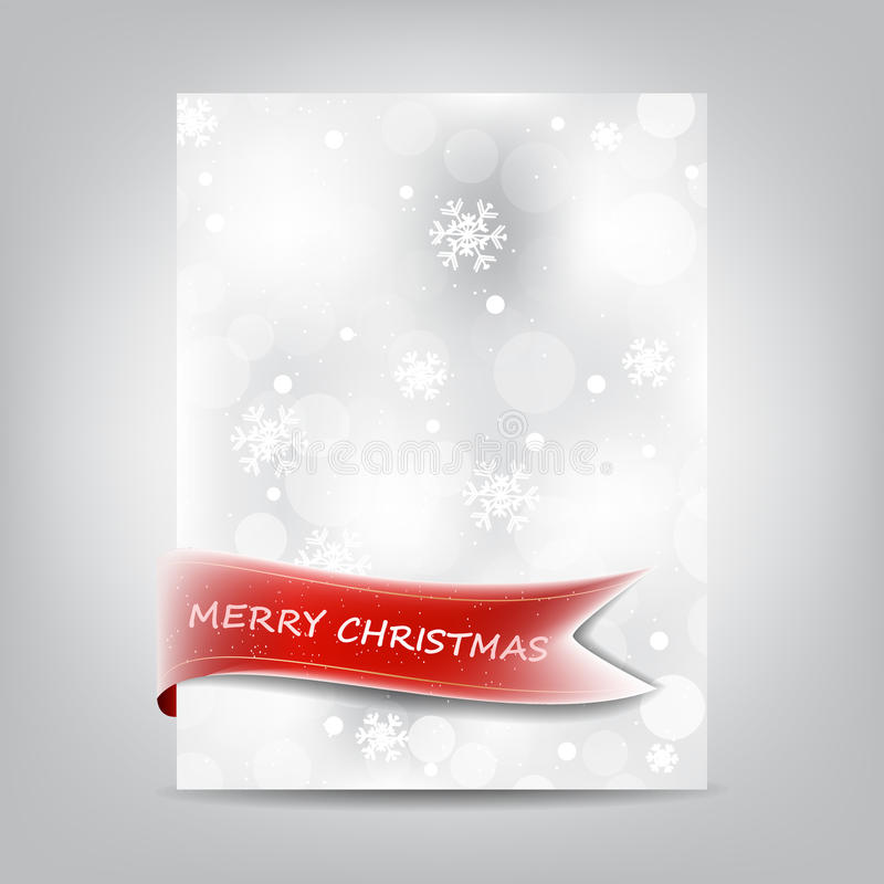 Christmas Template, Paper Banner With Red Ribbon And