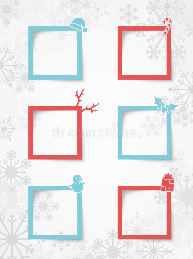Christmas Text Boxes On A Snowflake Background With Realistic Vector Shadows 1 vector illustration