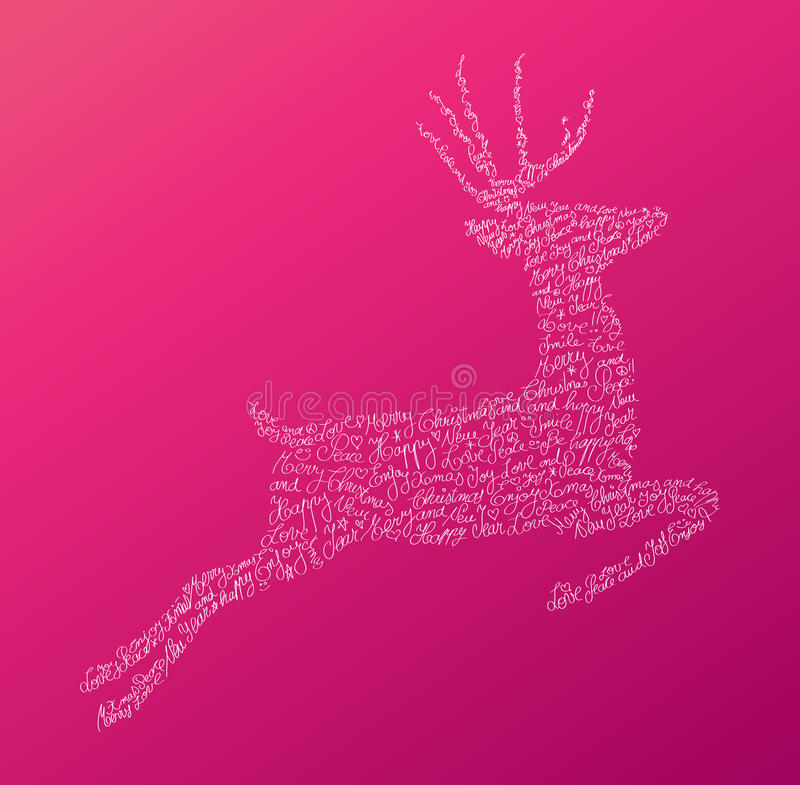Christmas text jumping reindeer composition EPS10 stock images