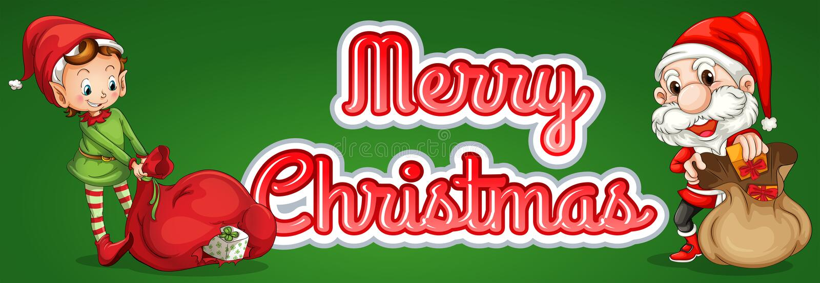 Christmas text. Merry Christmas theme sticker with elf and santa royalty free illustration