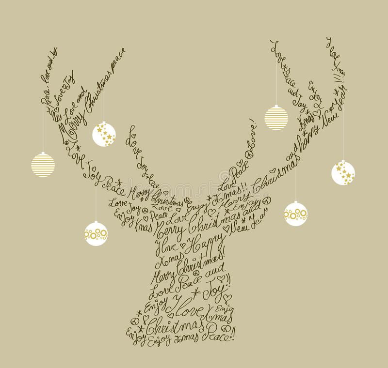 Christmas text shape reindeer, bauble composition vector illustration