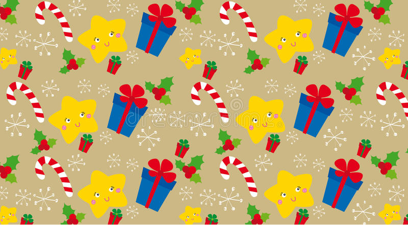 Christmas texture. Texture with christmas elements: gift, holly and snowflakes vector illustration