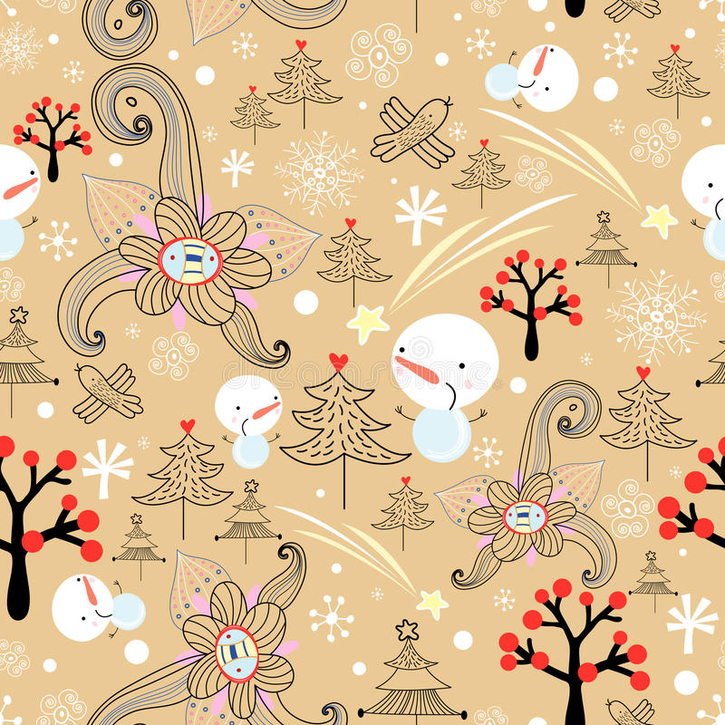Christmas Texture With Trees And Snowmen Royalty Free Stock Image