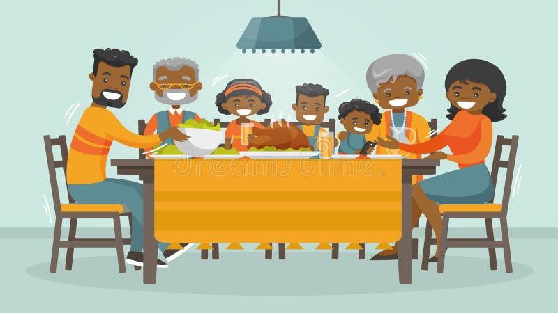 Family celebrating Thanksgiving Holiday card. vector illustration